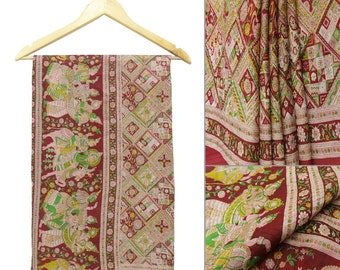 Vintage Indian Traditional Clothing Curtain Drape Saree Pure Silk Printed Fabric Women Wrap Decorative Craft Red Used Sari PS43732