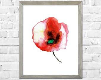 Flower Painting Print, Flower Watercolor painting, Watercolor print, Abstract flower, Flower art, Red flower, Floral print, Watercolor art