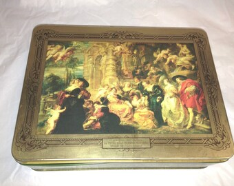 Vintage Collectibles  II GIARDINO DELL' Amore by Peter Paul Rubens Tin Box Square with Lid