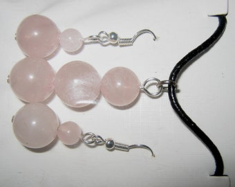 ROSE QUARTZ BEAD necklace on leather cord with rose quartz earrings