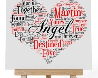 Personalised Love Word Art Wooden Plaque & Wooden Easel Stand - Destined