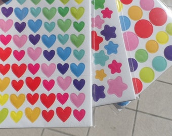6 sheets of adhesive labels in the shape of Heart - Star - Round Scrapbooking Gift Tags