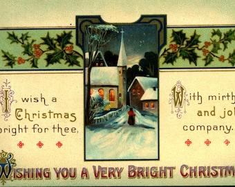 Christmas, Wishing You a Very Bright, c1910 Unused Vintage Postcard