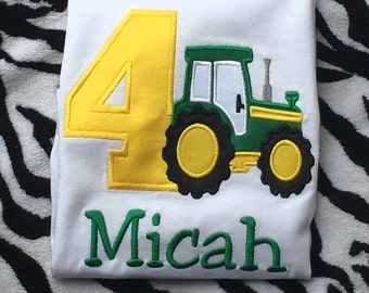 Personlized Boys Tractor Birthday Shirt