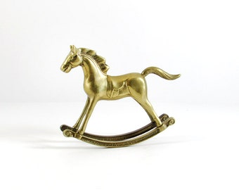 Vintage Brass Rocking Horse Figurine, Mid-Century Metal Decor