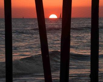 Ocean Sunset Pier Wave Photography - Minimalist Sea Coastal Nautical Red Orange Silhouette Moody Dark Wall Art Decor Print Canvas