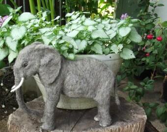 Needle felted Elephant, Needle felted animal, Felted Elephant, Handmade Elephant