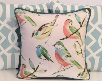 Outdoor Bird Pillow Cover, Indoor Outdoor Pillow, Bird Pillow Cover, Teal, Green, Coral and White Pillow, Richloom Birdwatcher Pillow