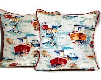 Red ,White, Blue Outdoor Pillow Cover- Nautical Pillow- Beach Decor-Sailboat Pillow-Coastal Decor-Boat Pillow