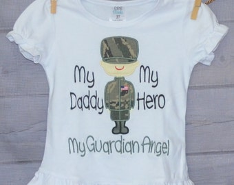 Personalized Military Man/Woman My Parents My Heroes Guardian Angel Applique Shirt or Onesie Boy or Girl