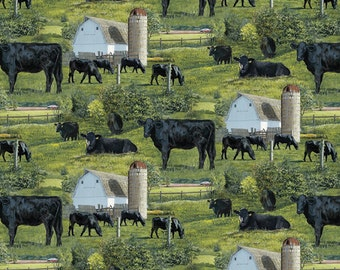 Wild Wings Black Angus Scenic Cows Fabric From Springs Creative By the Yard