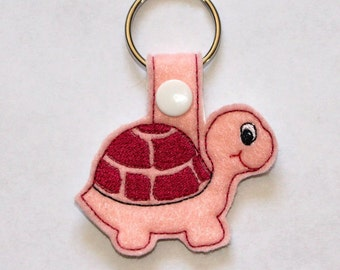 Turtle - Tortoise - In The Hoop - Snap/Rivet Key Fob - Digital Embroidery Design