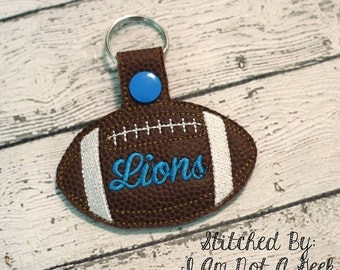Lions Football - In The Hoop - Snap/Rivet Key Fob - DIGITAL Embroidery Design