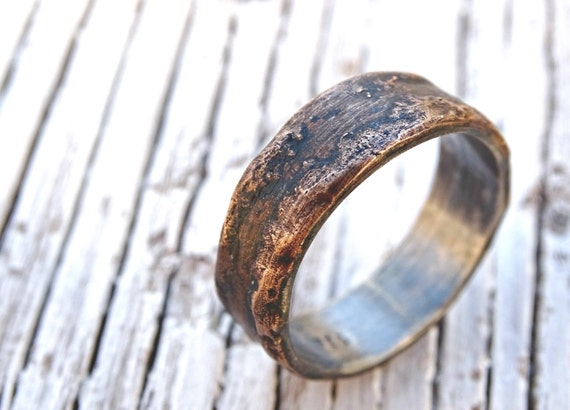 cool mens wedding rings bronze ring silver band unique mens ring bronze personalized 3047