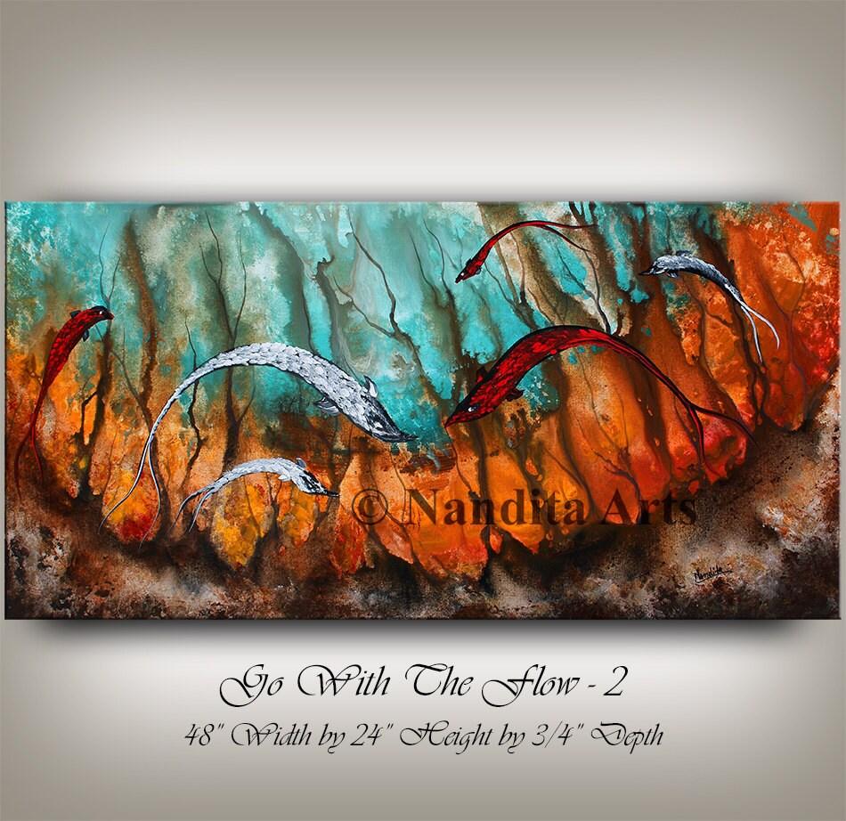 Seascape koi fish painting large abstract art large artwork for Koi fish canvas art
