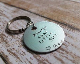Always your little girl hand stamped Keychain personalised Wedding Father of the Bride gift