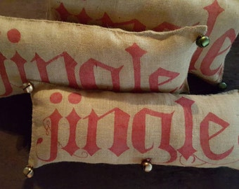 Handmade Burlap Jingle Pillow