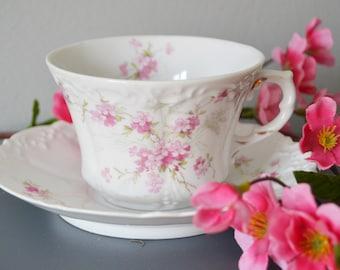Pink Floral Teacup Saucer Set Weimer Germany Shabby Cottage Chic