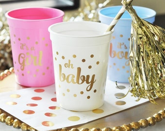 25 Baby Shower/Gender Reveal Cups - Choose from  blue - Its a boy set, Pink - Its a girl set or White- Oh Baby metallic gold design
