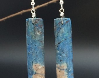 Azurite Earrings, Gemstone Slice Earrings, Gemstone Slab Earrings, Azurite Slice Earrings, Azurite Stone Earrings, Earrings under 50,