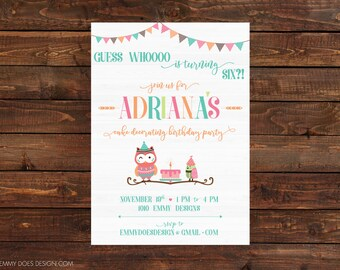 Owl Birthday Party Invitation, Owl Theme, Kid Birthday, Adventure Birthday Invitation, Sisters Birthday, 5x7 Printable, DIY