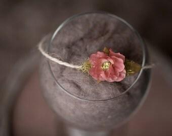 "The ""Bliss"" newborn headband, dusty rose, mauve, photo prop, baby girl headband"