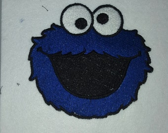 Cookie Monster Blue Monster Iron on No Sew Embroidered Patch Applique