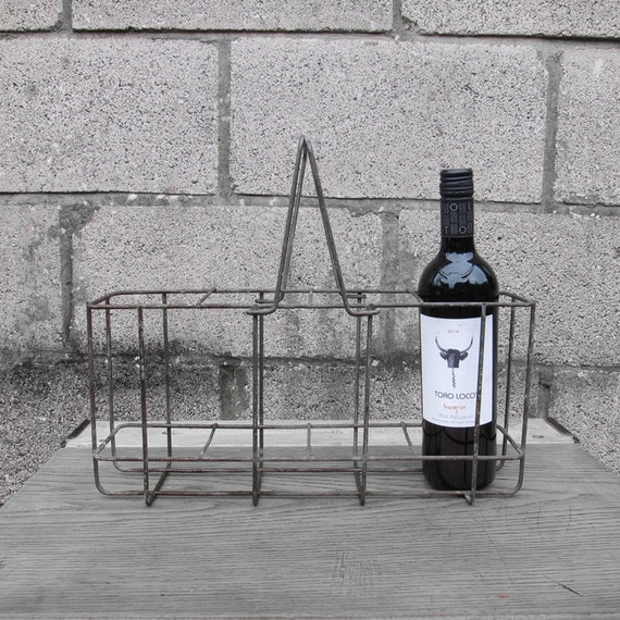 Wine Bottle Holder - Industrial Metal - 1960s Original French