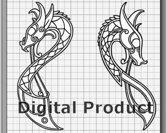 Celtic Knotwork Dragons SVG, (dxf, eps, pdf, png, svg, studio3 file types) Die Cut Files, Silhouette Cameo, Cricut, Instant Download