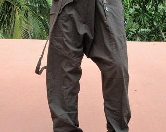 pantalon homme ethnique original en coton marron