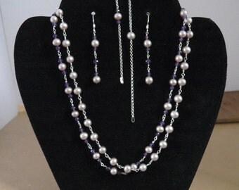 Lavender Pearl Necklace Set