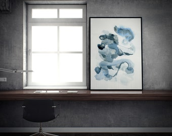 Large Wall Art. Blue Wall Art. Abstract Wall Art. Wall Art Blue. Large Blue Wall Art