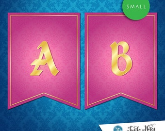 Small Sleeping Beauty Pink Banner :  Printable Banner All Letters 0-9 numbers