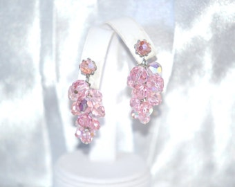 Vintage Chandelier Waterfall Earrings of Pink Faceted Crystal