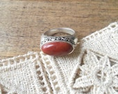 Vintage Red Jasper and Sterling Silver Ring Size 7