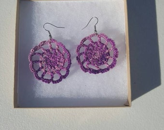 Medallion Earrings in shades of purple  with Gift Box, accessories, circular earrings, handcrafted