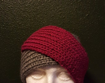 Knit split headwrap (cranberry/grey),  headwrap, ear warmer, winter headwrap custom orders. Made to order