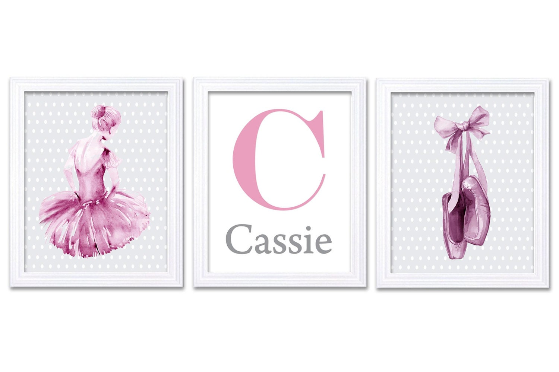 Watercolor Ballerina Nursery Decor Nursery Wall Art Set of 3 Prints Poster Pink Grey Letter Name Sli