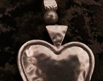 HANDMADE Large Silver Heart And Beads Keyrings/Tags Perfect Gift Slave/Kajira/Girlfriend FREE UK p&p