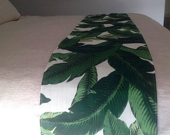 Bed Runner, Tropical Decor, Palm Leaves, Swaying Palms Bed Runner