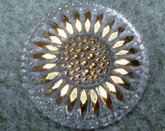 Czech Glass Button 32mm - hand painted daisy - crystal clear glass with gold (B3213)
