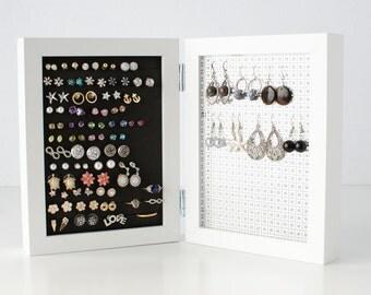 Double Framed Earring Holder - White 5x7 Frame - Jewelry Display - Hook & Stud Earring Organizer