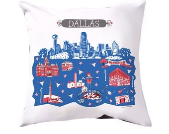 Dallas Pillow Cover-Home Decor-Royal Blue-Red-Grey-16 x 16-Big Tex-Dallas County Courthouse-Reunion Tower-Deep Ellum