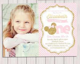 Pink and Gold Minnie Mouse First Birthday Party Invitation, Photo 1st Birthday, Gold Glitter, Polka Dot invite, Girl, Printable Invitation