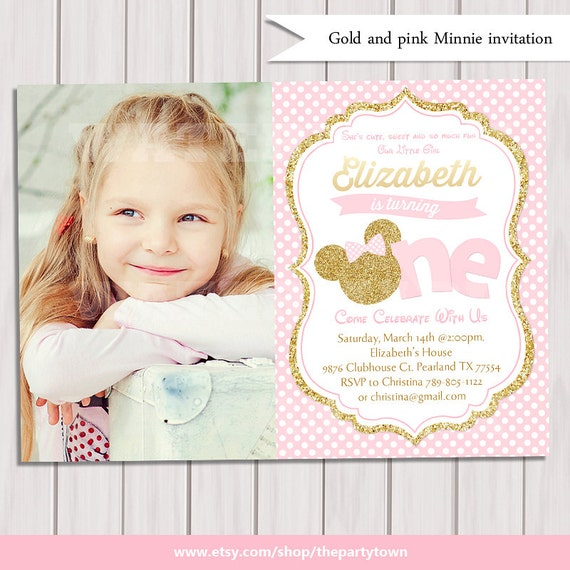 Pink and gold minnie mouse first birthday party invitation photo il570xn filmwisefo
