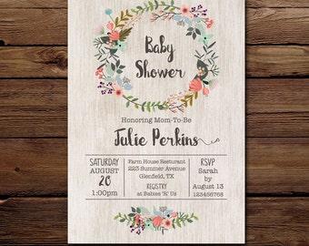 Baby Shower Invite, Floral wreath Invitation, Gender neutral Invitation, Printable Invitation, Digital invite, Baby shower floral invite