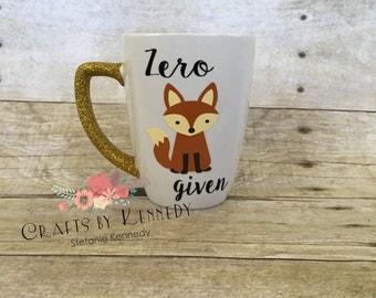 Zero fox given/glitter mugs / funny gifts / fox mug