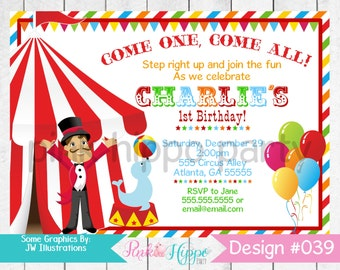 Circus, Big Top Tent, Carnival, Ringmaster:#039-Children's Birthday Invitation, Personalized, Digital, Printable, JPEG