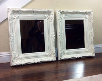 "Mirrors, White Mirror, Matching Mirrors, 21 1/2"" by 25 1/2"", Vanity Mirrors, Different Sizes And Colors, Wood Framed Mirror, Ornate Mirror,"