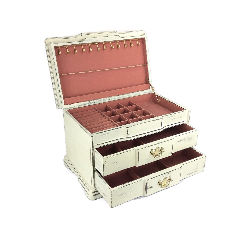 LARGE JEWELRY BOX White Jewelry Chest Wooden Jewelry